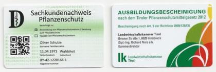 Sachkundenachweis-Scheckkarten
